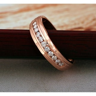 De Couer  IGI Certified 10k Rose Gold 1/2ct TDW Diamond Men's Wedding Band - Pink