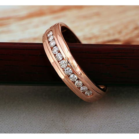De Couer IGI Certified 10k Rose Gold 1/2ct TDW Diamond Men's Wedding Band - Pink