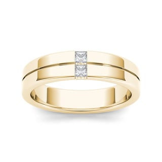 De Couer 14k Yellow Gold 1/5ct TDW Diamond Men's Band - White