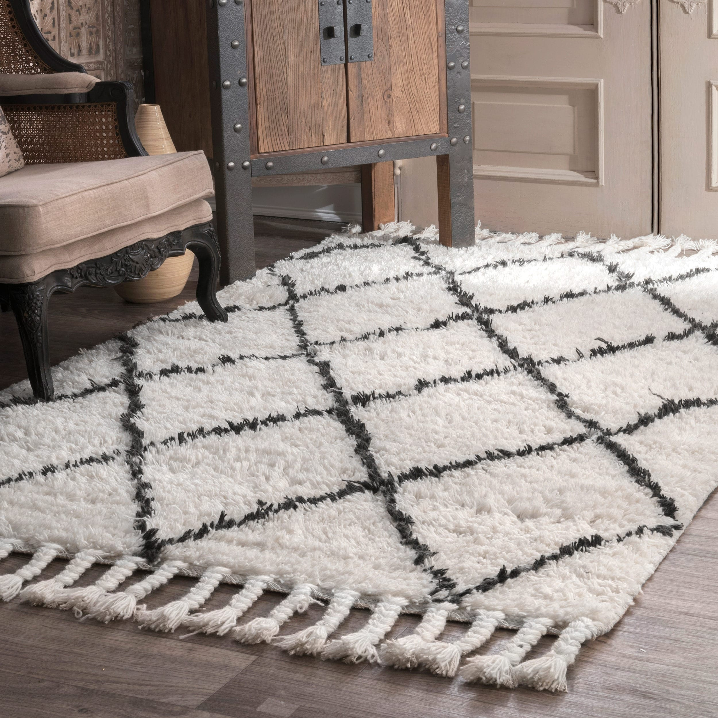 Shop Nuloom Hand Knotted Moroccan Trellis Natural Shag