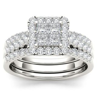 De Couer 14k White Gold 1 1/4ct TDW Diamond Halo Engagement Ring Set with Two Bands - White H-I