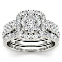 De Couer 14k White Gold 1 1/2ct TDW Diamond Halo Engagement Ring Set with Two Bands - White H-I