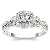 De Couer  IGI Certified 14k White Gold 1/2ct TDW Diamond Halo Engagement Ring - White H-I