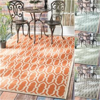 nuLOOM Modern Trellis Outdoor/ Indoor Porch Rug (8'6 x 12'2)