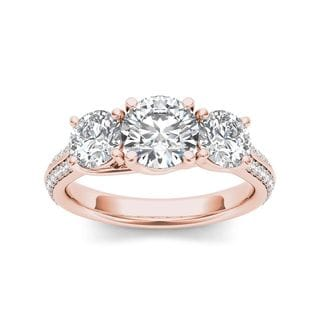 De Couer 14k Rose Gold 2 1/4ct TDW Diamond Three-Stone Anniversary Ring