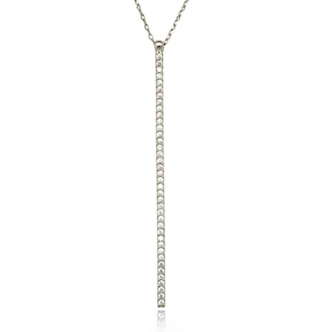 La Preciosa Sterling Silver Cubic Zirconia Vertical Bar Necklace