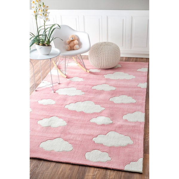 nuloom handmade modern clouds kids pink blue rug 5 39 x 8 39 free shipping today overstock. Black Bedroom Furniture Sets. Home Design Ideas