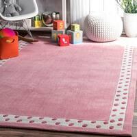 nuLOOM Handmade Solid Border Kids Pink Rug (5' x 8') - 5' x 8'