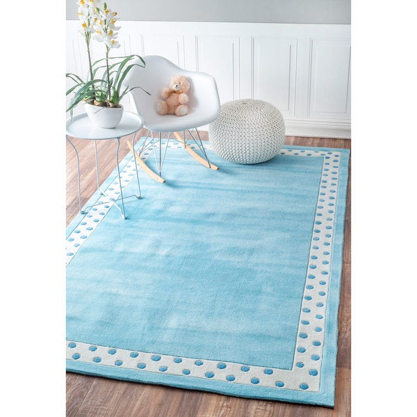 Nuloom Handmade Dotted Trellis Wool Kids Nursery Baby Pink: NuLOOM Handmade Modern Solid Border Kids Pink/ Blue Rug (5