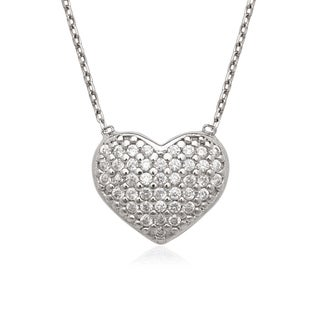 La Preciosa Sterling Silver Micro Pave Cubic Zirconia Heart Necklace