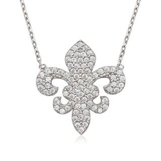 La Preciosa Sterling Silver Cubic Zirconia Fleur de Lis Necklace