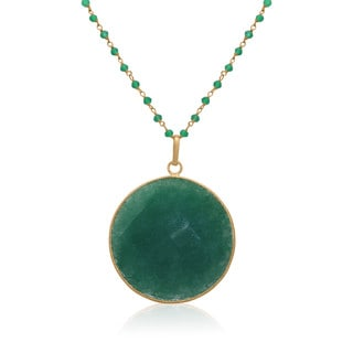 Gioelli Yellow Goldplated Sterling Silver Round Dyed Gemstone Pendant Station Necklace