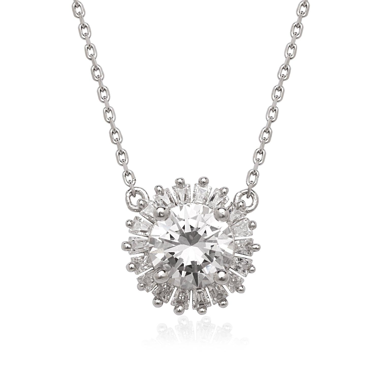 6c2875a3fdf2c Details about La Preciosa Sterling Silver Cubic Zirconia Halo Circle  Necklace