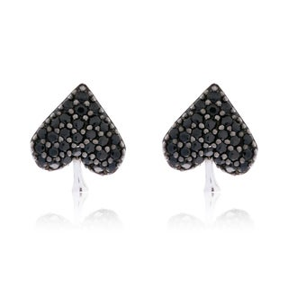 Blue Box JewelsRhodium-plated Sterling Silver Black Cubic Zirconia Spade Earrings