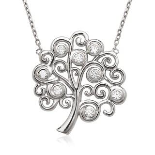 La Preciosa Sterling Silver Cubic Zirconia Tree Necklace