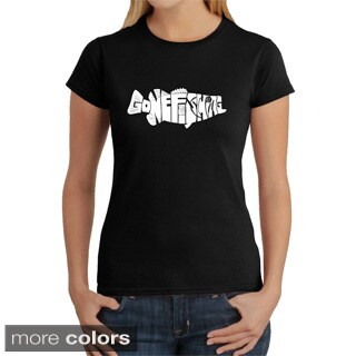 LA Pop Art Women's Gone Fishin' Bass Cotton T-shirt