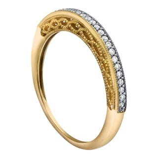 Beverly Hills Charm 10k Gold 1/8ct TDW Milgrain Diamond Stackable Band (H-I, I2-I3)