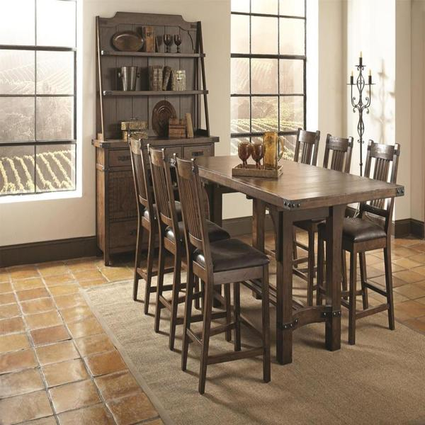 bastille brown 8-piece counter height dining set - free shipping