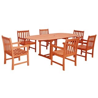 Havenside Home Surfside Eco-friendly 7-piece Wood Outdoor Dining Set with Oval Extension Table