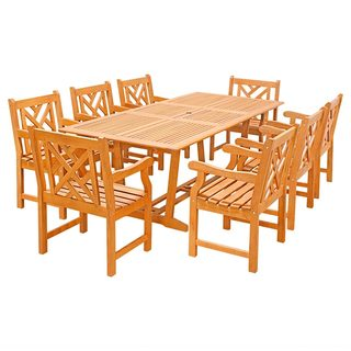 Eco-Friendly 9-Piece Wood Outdoor Dining Set with Rectangular Extension Table and Decorative Back Armchairs V232SET32