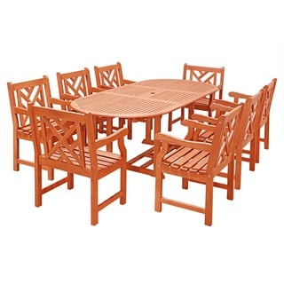 Eco-Friendly 9-Piece Wood Outdoor Dining Set with Oval Extension Table and Decorative Back Armchairs V144SET24N