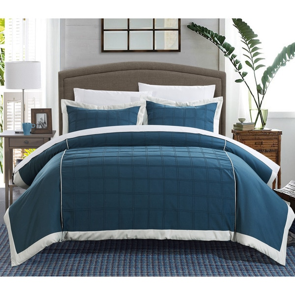 Chic Home Angevin Pintuck Color Block 7-piece Duvet Cover Set