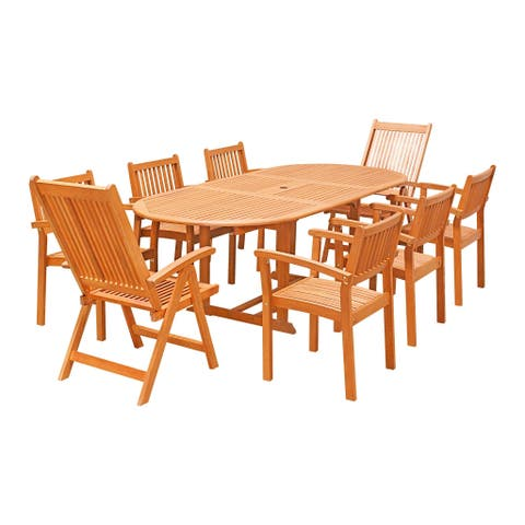 Havenside Home Surfside Eco-friendly 9-piece Wood Outdoor Dining Set with Oval Extension Table, Folding Arm Chairs, and Stack