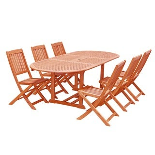 Eco-Friendly 7-Piece Wood Outdoor Dining Set with Oval Table and Foldable Chairs V144SET29