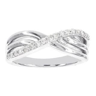 H Star Sterling Silver 1/6ct TDW Diamond Criss-cross Ring (I-J, I2-I3)