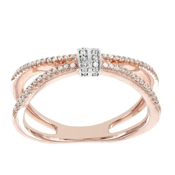 H Star 14k Rose Gold 1/5ct TDW Diamond Fashion Ring