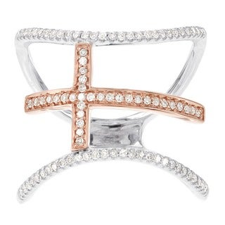 H Star 14k White and Rose Gold 1/4ct TDW Diamond Cross Fashion Ring (H-I, I1-I2)