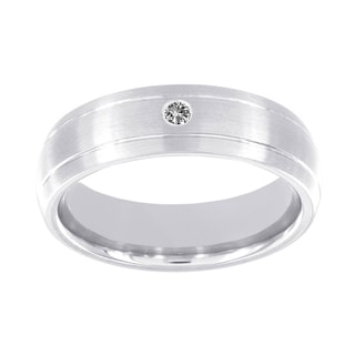 H Star Cobalt Men's Diamond Accent Matte Double Line Band
