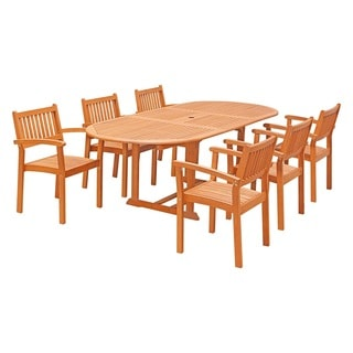 Eco-Friendly 7-Piece Wood Outdoor Dining Set with Oval Extension Table and Stacking Chairs V144SET30
