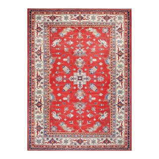 Herat Oriental Afghan Hand-knotted Tribal Vegetable Dye Super Kazak Wool Rug (10'1 x 14'1)