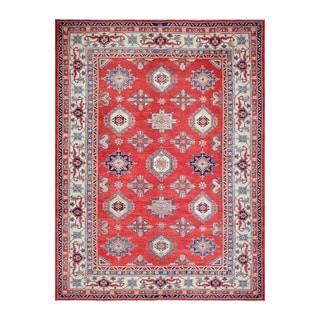 Herat Oriental Afghan Hand-knotted Tribal Vegetable Dye Super Kazak Red/ Ivory Wool Rug (10'3 x 13'1