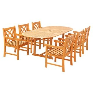 Havenside Home Surfside Eco-friendly 7-piece Wood Outdoor Dining Set Oval Extension Table and Arm Chairs