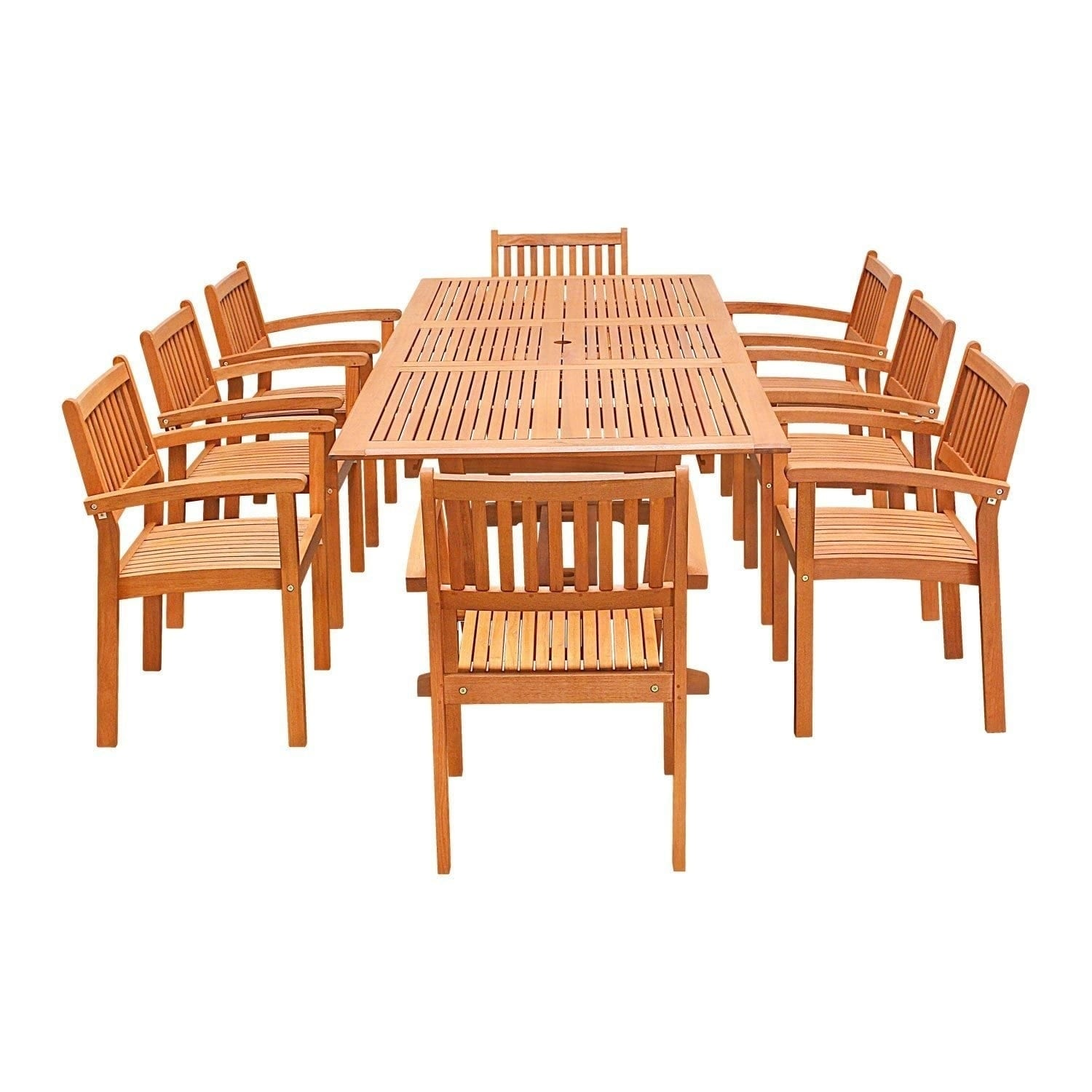 9 Piece Wood Outdoor Dining Set With Rectangular Extension Table And  Stacking Chairs