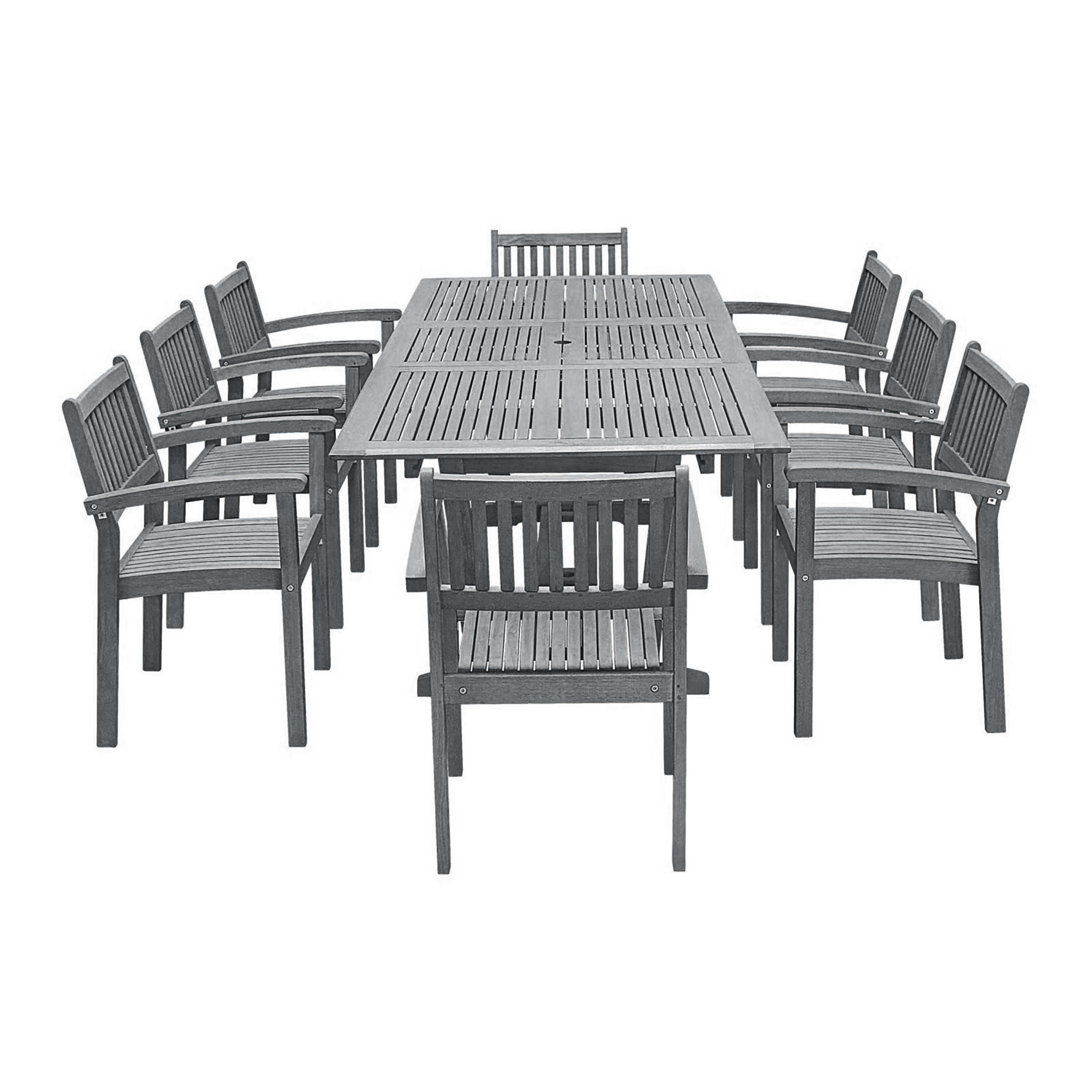 Havenside Home Surfside 9 Piece Wood Outdoor Dining Set With Rectangular Extension Table And Stacking Chairs