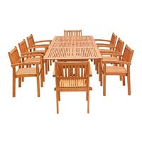 Havenside Home Surfside 9-piece Wood Outdoor Dining Set with Rectangular Extension Table and Stacking Chairs