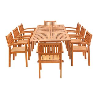 9-Piece Wood Outdoor Dining Set with Rectangular Extension Table and Stacking Chairs