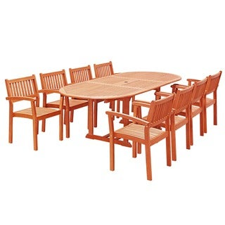 Havenside Home Surfside 9-piece Patio Dining Set with Oval Table and Stacking Chairs