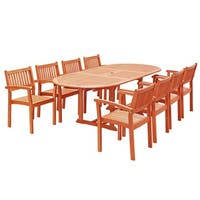 Havenside Home Surfside Eco-friendly 9-piece Wood Outdoor Dining Set with Oval Extension Table and Stacking Chairs