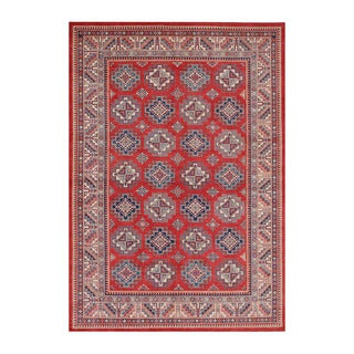 Herat Oriental Afghan Hand-knotted Tribal Vegetable Dye Super Kazak Red/ Ivory Wool Rug (8'8 x 12'8)