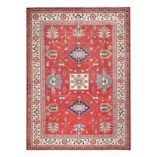 Herat Oriental Afghan Hand-knotted Tribal Vegetable Dye Super Kazak Wool Rug (8'1 x 11'3)