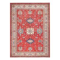 Herat Oriental Afghan Hand-knotted Tribal Vegetable Dye Super Kazak Wool Rug (8'1 x 11'3) - 8'1 x 11'3