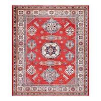 Herat Oriental Afghan Hand-knotted Tribal Vegetable Dye Super Kazak Wool Rug (8'2 x 9'9) - 8'2 x 9'9