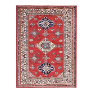 Herat Oriental Afghan Hand-knotted Tribal Vegetable Dye Super Kazak Red/ Ivory Wool Rug (6'7 x 8'11)