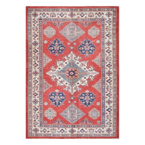 Herat Oriental Afghan Hand-knotted Tribal Vegetable Dye Super Kazak Wool Rug (6' x 8'10) - 6' x 8'10