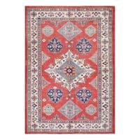 Herat Oriental Afghan Hand-knotted Tribal Vegetable Dye Super Kazak Wool Rug - 6' x 8'10