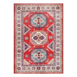 Herat Oriental Afghan Hand-knotted Tribal Vegetable Dye Super Kazak Red/ Ivory Wool Rug (5'7 x 8')